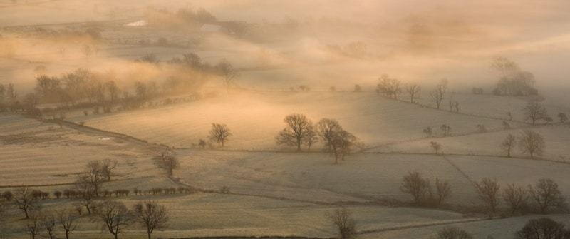 Frost on a wintery day over Derbyshire